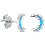 Blue moon gently curved womens earrings in blue opal and sterling silver