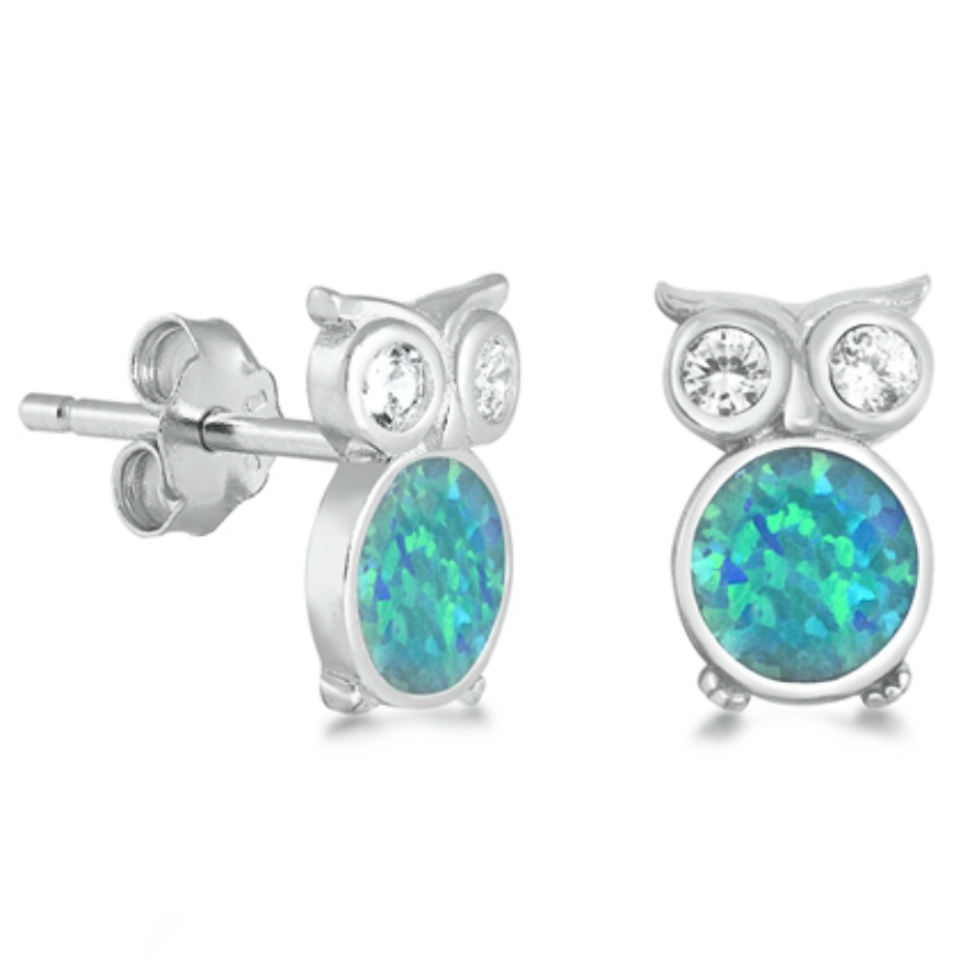 Happy hooty owls in opal and CZ earrings made in sterling silver
