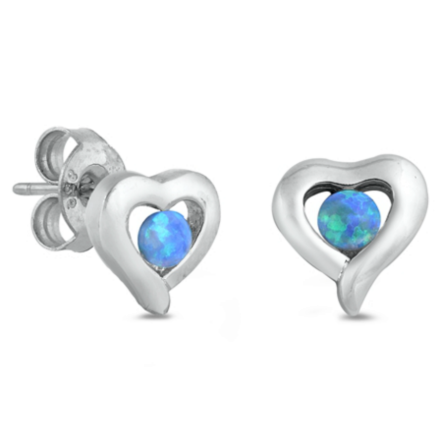 Womens modern chunky blue opal heart earrings in sterling silver
