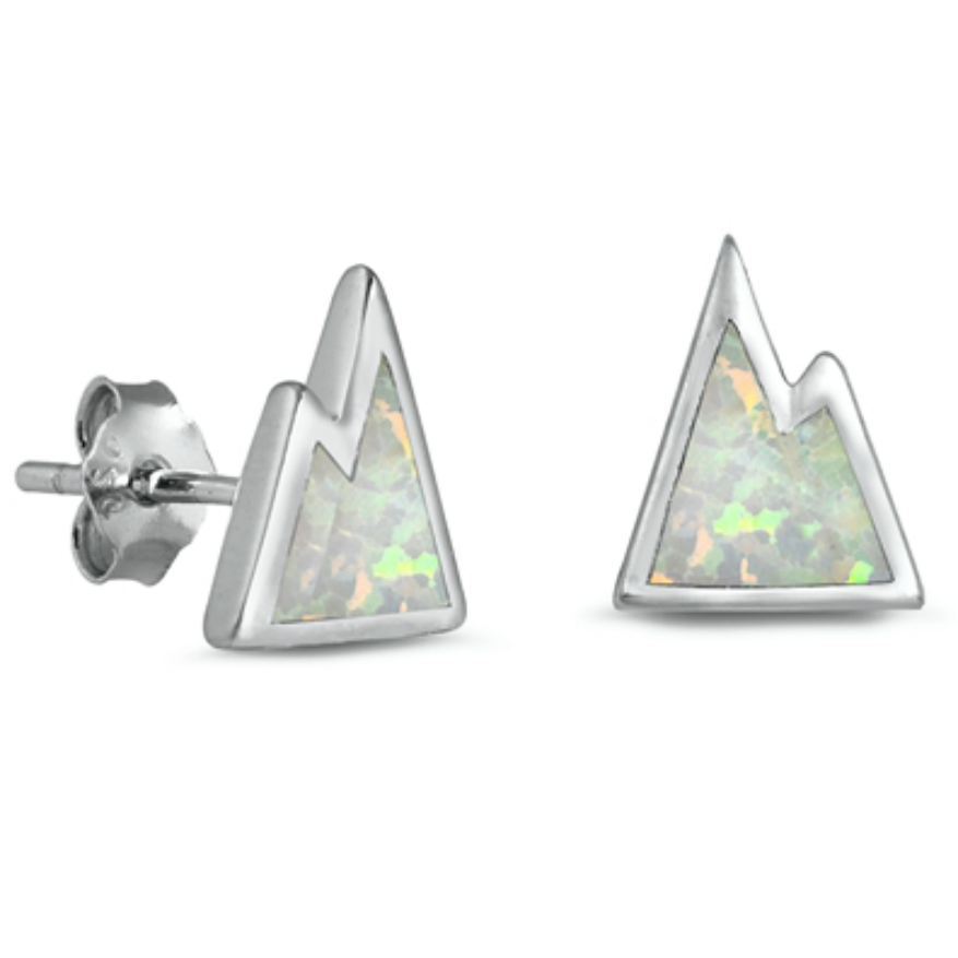 Outdoorsy forest meets fashion in these womens mountaintop opal earrings made of stamped .925 Sterling Silver