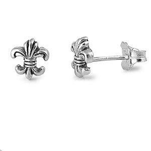 Sterling Silver Fleur De Lise Stud Earrings