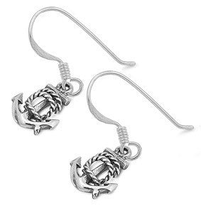 Sterling Silver Anchor Dangle Earrings - Blades and Bling Sterling Silver Jewelry