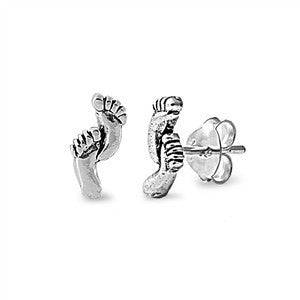 Sterling Silver Feet Stud Earrings - Blades and Bling Sterling Silver Jewelry