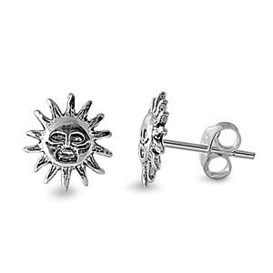 Sterling Silver Smiling Sun Stud Earrings - Blades and Bling Sterling Silver Jewelry