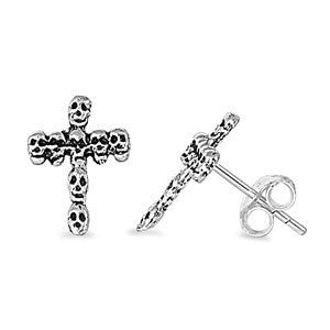 Sterling Silver Skull Cross Stud Earrings - Blades and Bling Sterling Silver Jewelry