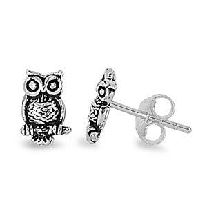 Sterling Silver Owl Stud Earrings - Blades and Bling Sterling Silver Jewelry