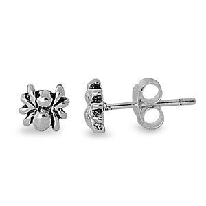 Sterling Silver Spider Stud Earrings - Blades and Bling Sterling Silver Jewelry