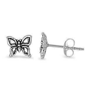 Sterling Silver Cute Butterfly Stud Earrings - Blades and Bling Sterling Silver Jewelry