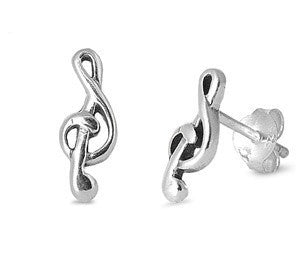 Sterling Silver Music Note Stud Earrings - Blades and Bling Sterling Silver Jewelry