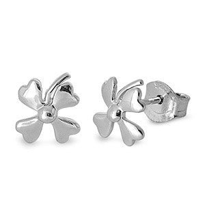 Sterling Silver Four Leaf Clover Irish Stud Earrings - Blades and Bling Sterling Silver Jewelry