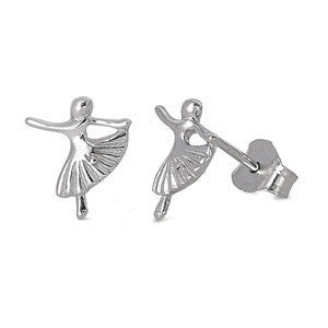Sterling Silver Ballerina Stud Earrings - Blades and Bling Sterling Silver Jewelry
