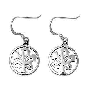 Sterling Silver Round Maple Tree Cut Out Earrings - Blades and Bling Sterling Silver Jewelry