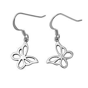 Sterling Silver Butterfly Stenciled Cut Out Dangle Earrings - Blades and Bling Sterling Silver Jewelry