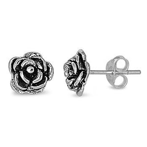 Sterling Silver Rose / Flower Stud Earrings - Blades and Bling Sterling Silver Jewelry
