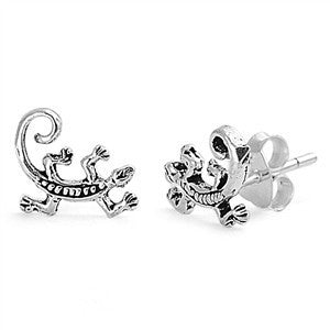 Sterling Silver Lizard Stud Earrings - Blades and Bling Sterling Silver Jewelry
