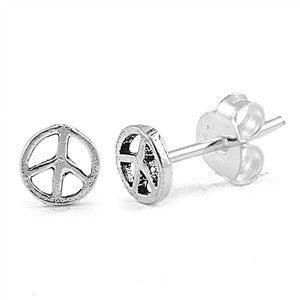 Sterling Silver Classic Peace Sign Stud Earrings - Blades and Bling Sterling Silver Jewelry