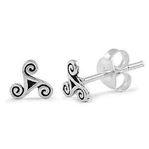Sterling Silver Triangle Swirl Celtic Stud Earrings