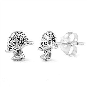 Sterling Silver Mushroom Stud Earrings - Blades and Bling Sterling Silver Jewelry