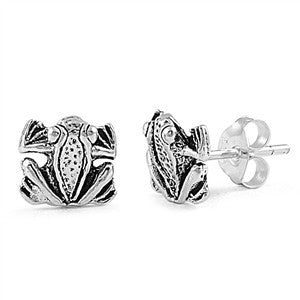 Sterling Silver Frog Stud Earrings - Blades and Bling Sterling Silver Jewelry