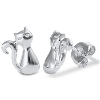 Sterling Silver Cat Studs / Earrings - Blades and Bling Sterling Silver Jewelry