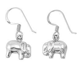 Sterling Silver Elephant French Hook Dangle Earrings