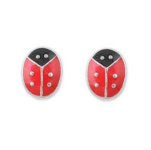 Sterling Silver Cute Lady Bug Stud Earrings - Blades and Bling Sterling Silver Jewelry