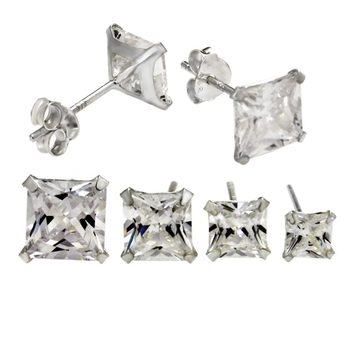 Womens princess cut diamond cz stud earrings