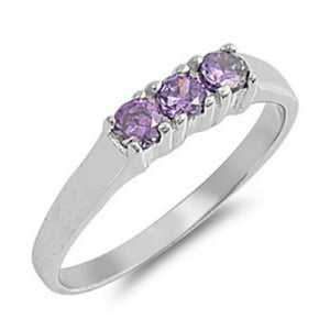 Sterling Silver Purple Amethyst CZ Ring Size 1-5 by Blades and Bling Sterling Silver Jewelry
