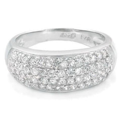 Sterling Silver CZ Four Row Wedding Band Ring size 5-9 by  Blades and Bling Sterling Silver Jewelry