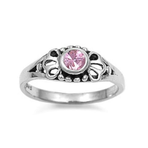 Sterling Silver Pink Topaz CZ Ring Size 1-5 by Blades and Bling Sterling Silver Jewelry