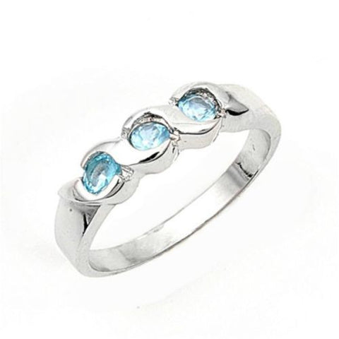 Sterling Silver Aquamarine Blue CZ Three Stone Ring Size 1 2 - Blades and Bling Sterling Silver Jewelry