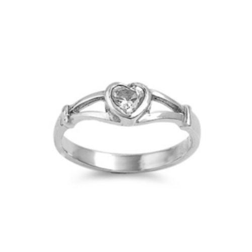 Sterling Silver Clear CZ Heart Ring Size 1-5 - Blades and Bling Sterling Silver Jewelry