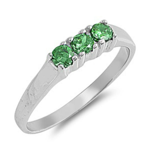 Sterling Silver Emerald Green CZ Ring size 1- 4 by  Blades and Bling Sterling Silver Jewelry