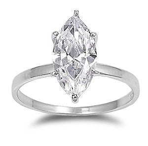 Sterling Silver CZ 3 carat Marquise Diamond Engagement Ring size 5-9 - Blades and Bling Sterling Silver Jewelry