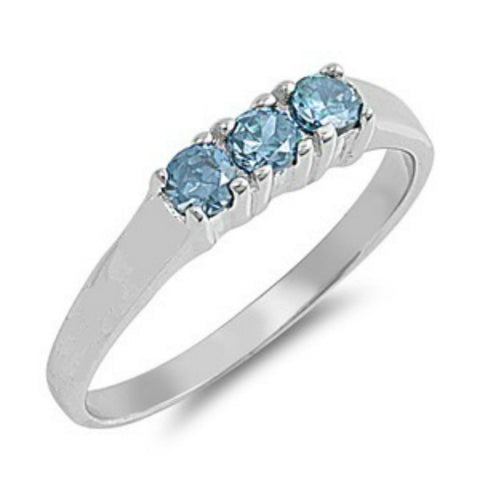 Sterling Silver Baby Blue Topaz CZ Three Stone Ring Size 1-4- Blades and Bling Sterling Silver Jewelry