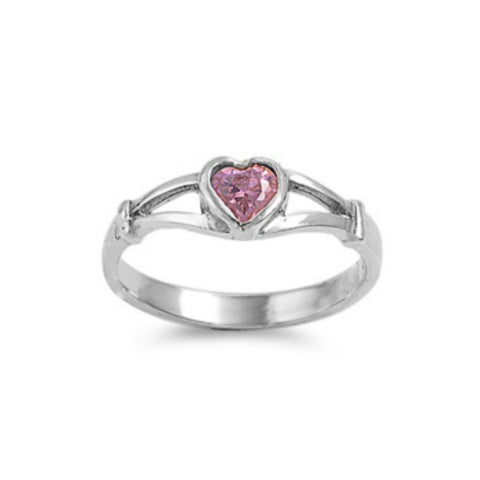 Sterling Silver Pink Topaz CZ Heart Ring Size 1-5 by Blades and Bling Sterling Silver Jewelry