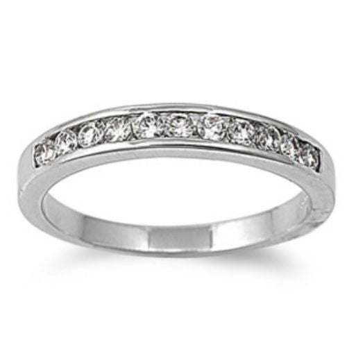 Sterling Silver Clear White CZ Wedding Band Ring size 4-11 - Blades and Bling Sterling Silver Jewelry