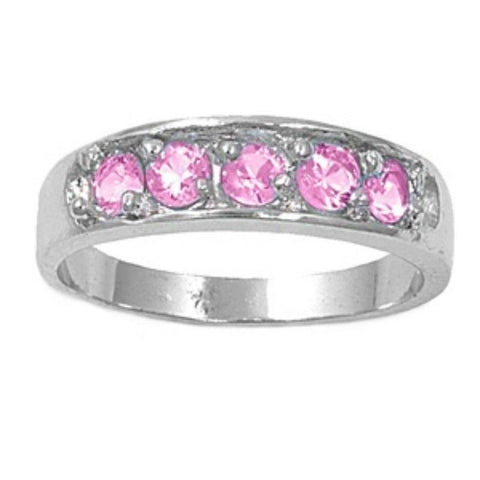 Sterling Silver Pink Topaz CZ Five Stones Ring Size 1-5 by Blades and Bling Sterling Silver Jewelry