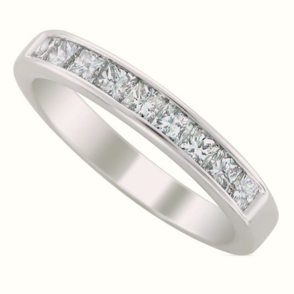 Sterling Silver CZ Princess Cut Wedding Band Ring size 5-10 - Blades and Bling Sterling Silver Jewelry