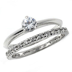 Sterling Silver Round Brilliant Cut Wedding Ring Set CZ Engagement Ring and Band size 5-9
