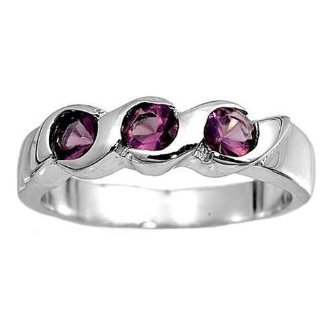 Sterling Silver Purple Amethyst CZ Three Stone Ring Size 1-2 by Blades and Bling Sterling Silver Jewelry