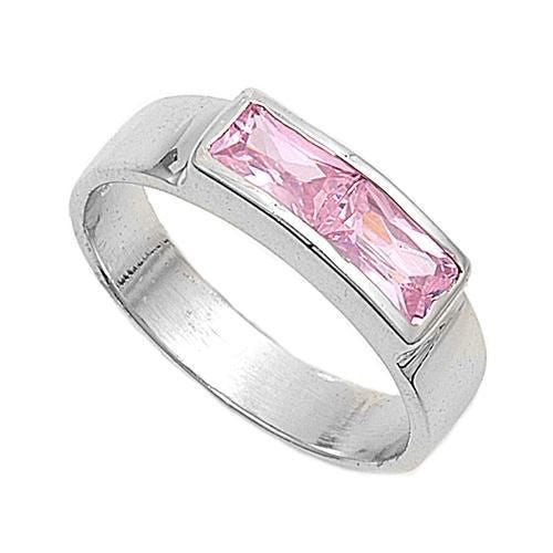 Sterling Silver Pink CZ Ring Size 1-5 by Blades and Bling Sterling Silver Jewelry