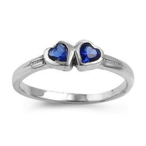 Sterling Silver Blue Sapphire CZ Twin Heart Ring Size 1-5 - Blades and Bling Sterling Silver Jewelry
