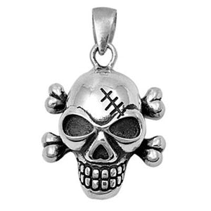 Sterling Silver Skull and Cross Bones pendant - Blades and Bling Sterling Silver Jewelry