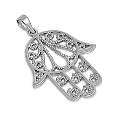 Sterling Silver Large Hand of God Cable Rope Twist pendant - Large - Blades and Bling Sterling Silver Jewelry