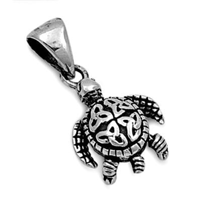 Sterling Silver Small Moving Jointed Turtle with Celtic Knots pendant - Blades and Bling Sterling Silver Jewelry