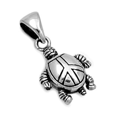 Sterling Silver Small Moving Turtle with Peace Symbol pendant - Blades and Bling Sterling Silver Jewelry