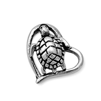 Sterling Silver Tiny Turtle Heart pendant - Blades and Bling Sterling Silver Jewelry