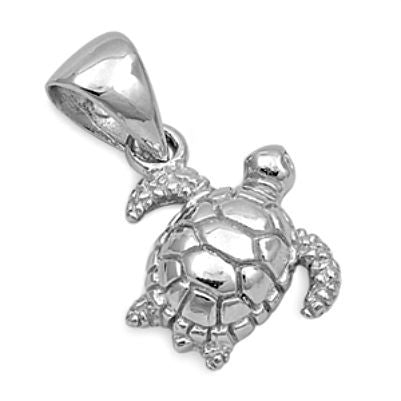 Sterling Silver Tiny Tilted Sea Turtle pendant - Blades and Bling Sterling Silver Jewelry