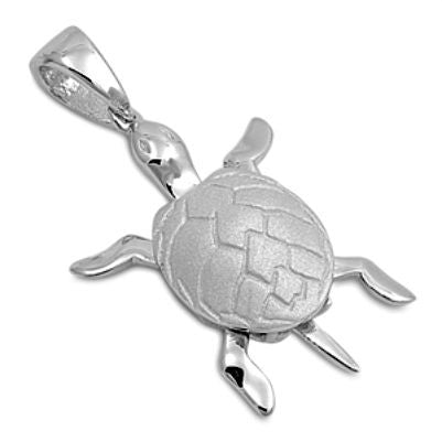 Sterling Silver Shiny Stylized Sea Turtle pendant with Rhodium